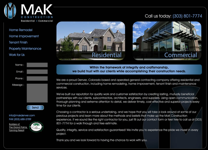 mak construction denver website design