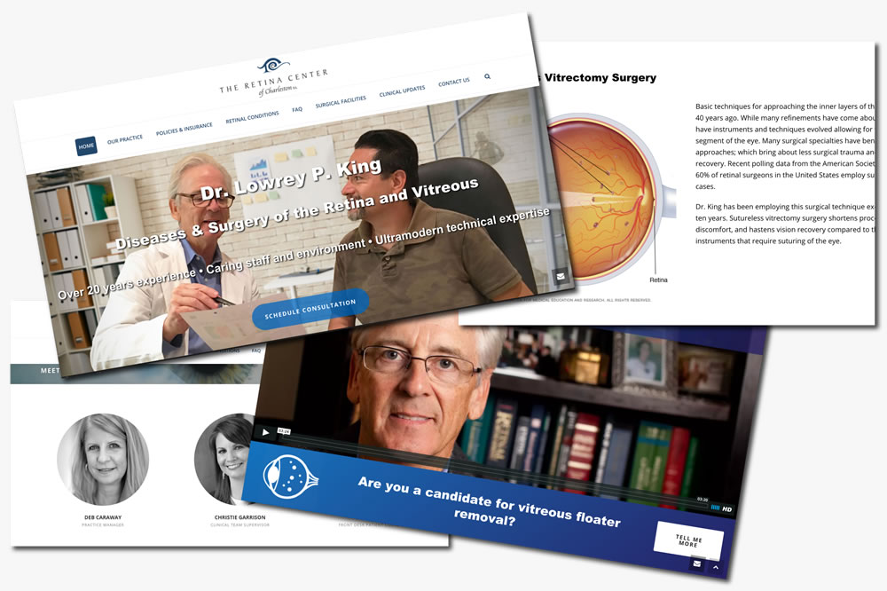 retina center of charleston website design