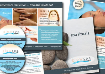 glowspa marketing collateral graphic design