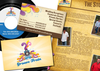 groove train band promo packet graphic design