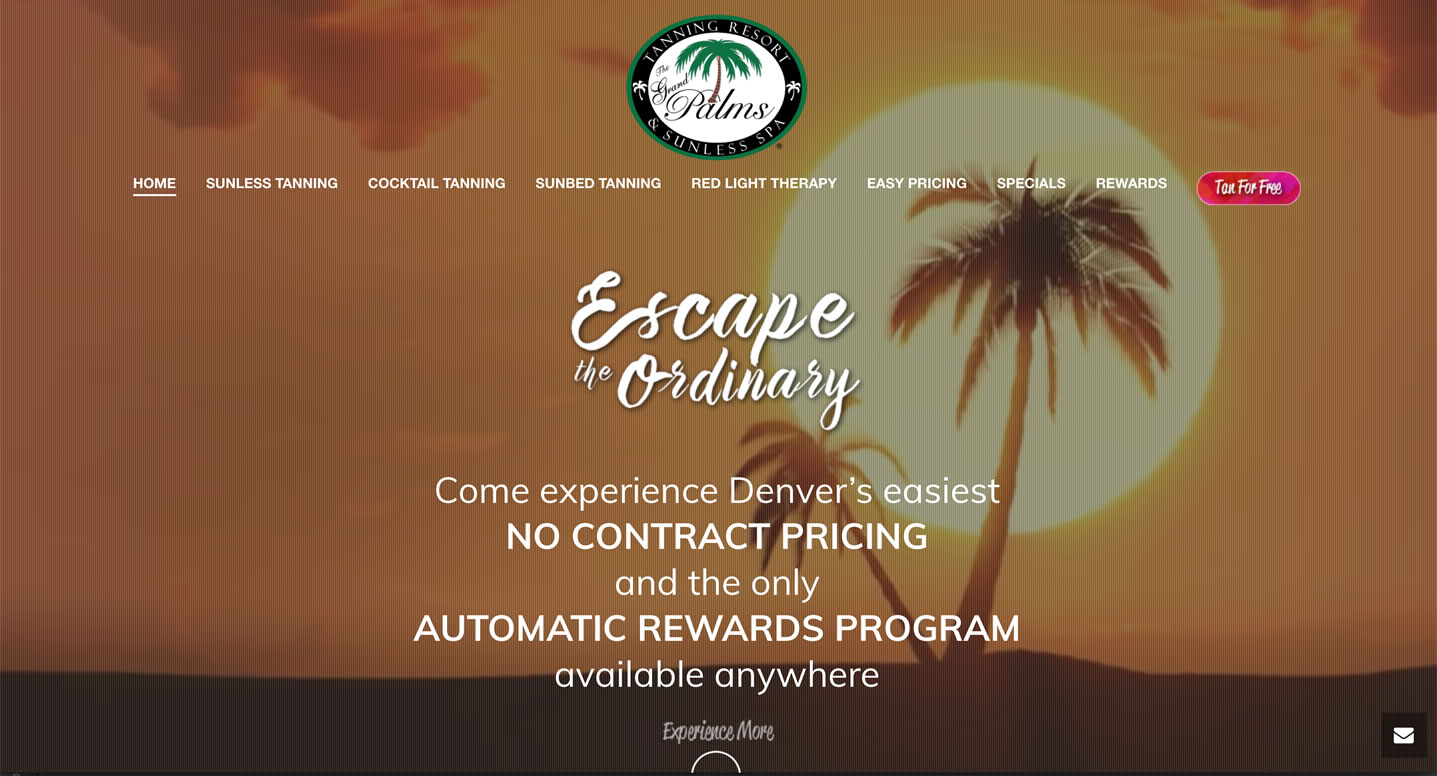 the grand palms tanning resort website design