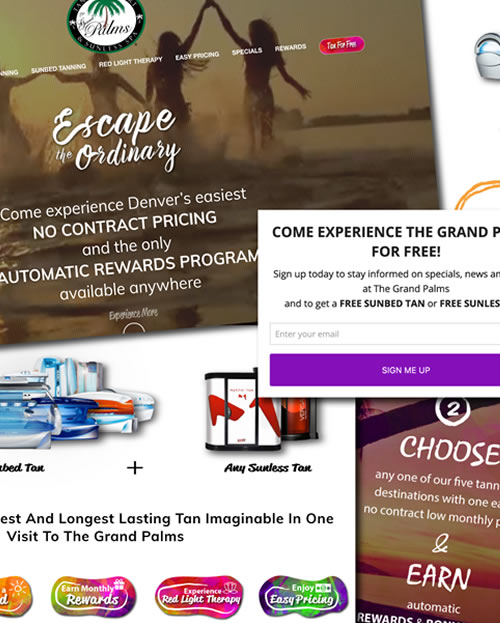 palms tanning resort website design graphic design